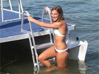 angled pontoon ladder