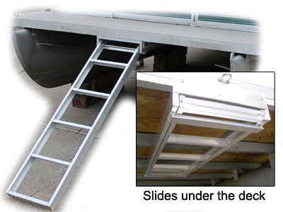 Pontoon ladder that sows under the deck